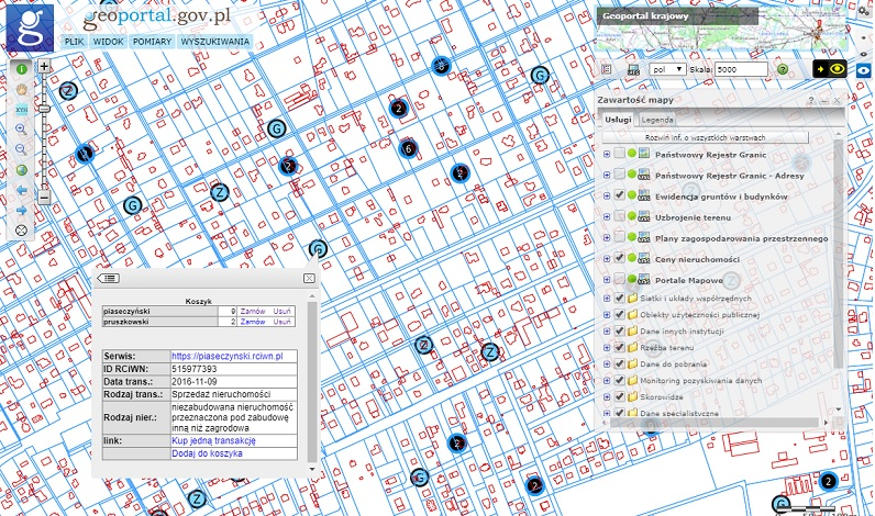 Ceny nieruchomości w Geoportalu (fot. GUGiK)