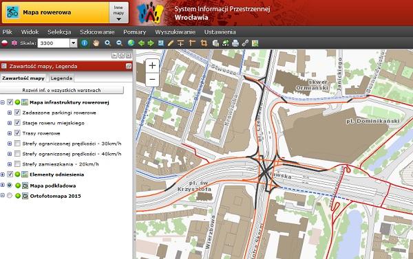 Mapa rowerowa Wrocławia we wrocławskim geoportalu