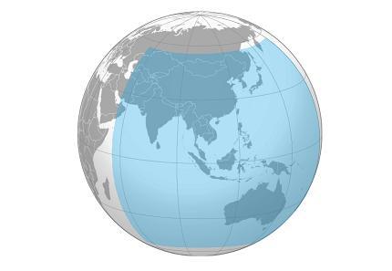 Obecny zasieg chińskiego systemu nawigacji satelitarnej BeiDou-2. Do 20120 system ma obejmować całą planetę. (fot. Wikipedia)
